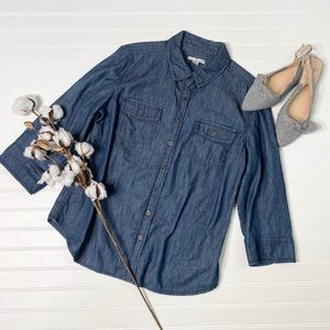 Dalia Collection Chambray Button Up Shirt